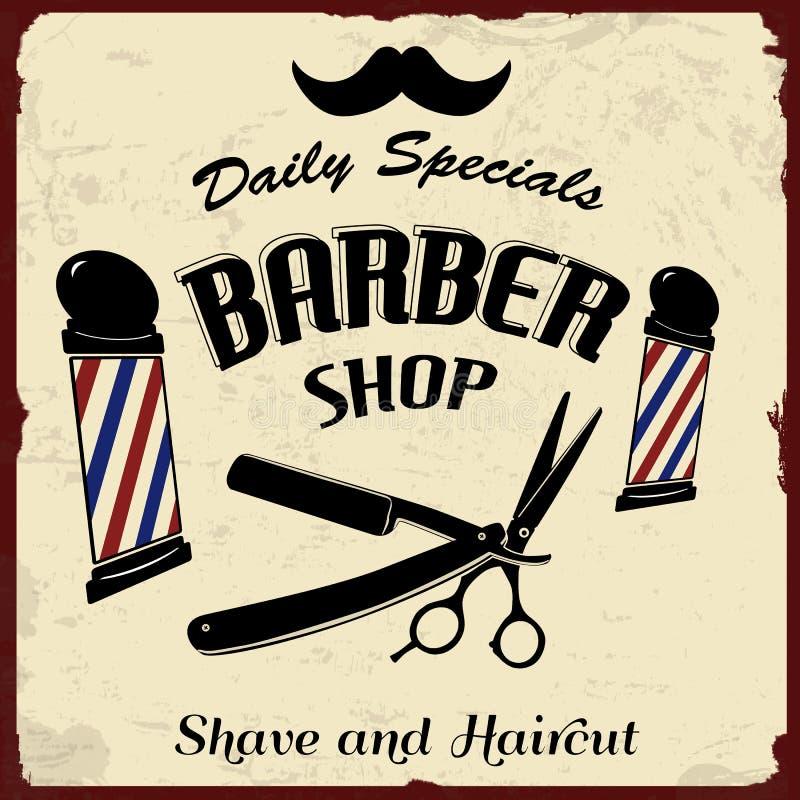 Wijnoogst Gestileerde Barber Shop royalty-vrije illustratie