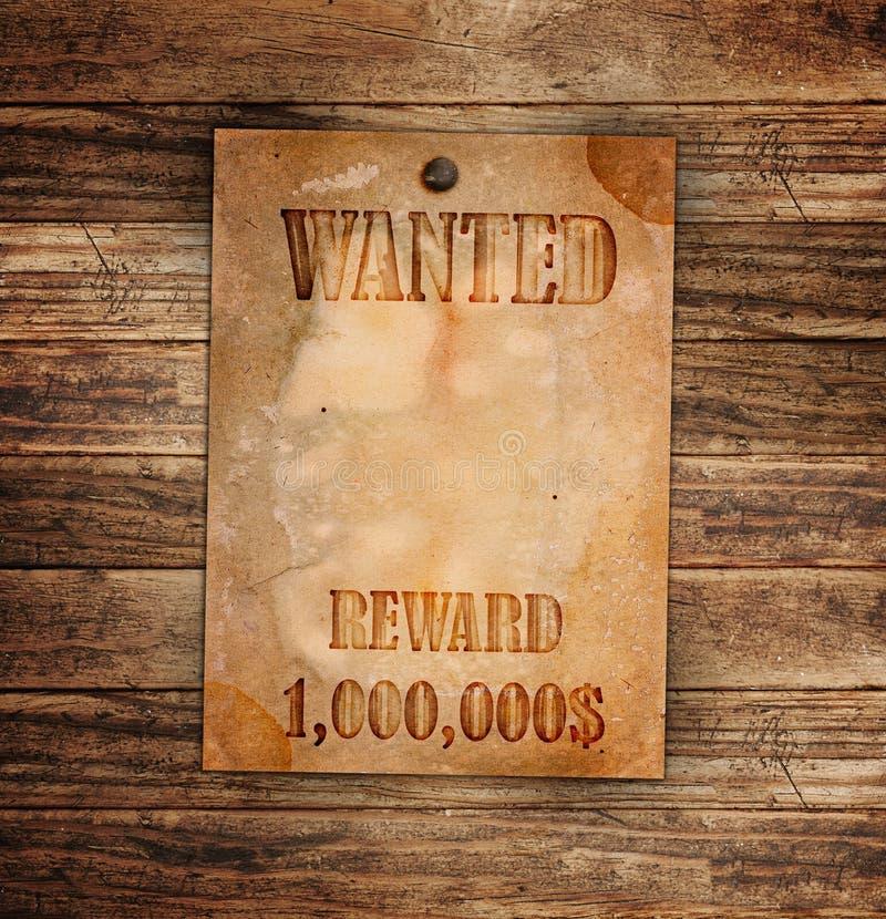 Wijnoogst gewilde affiche op een hout stock foto