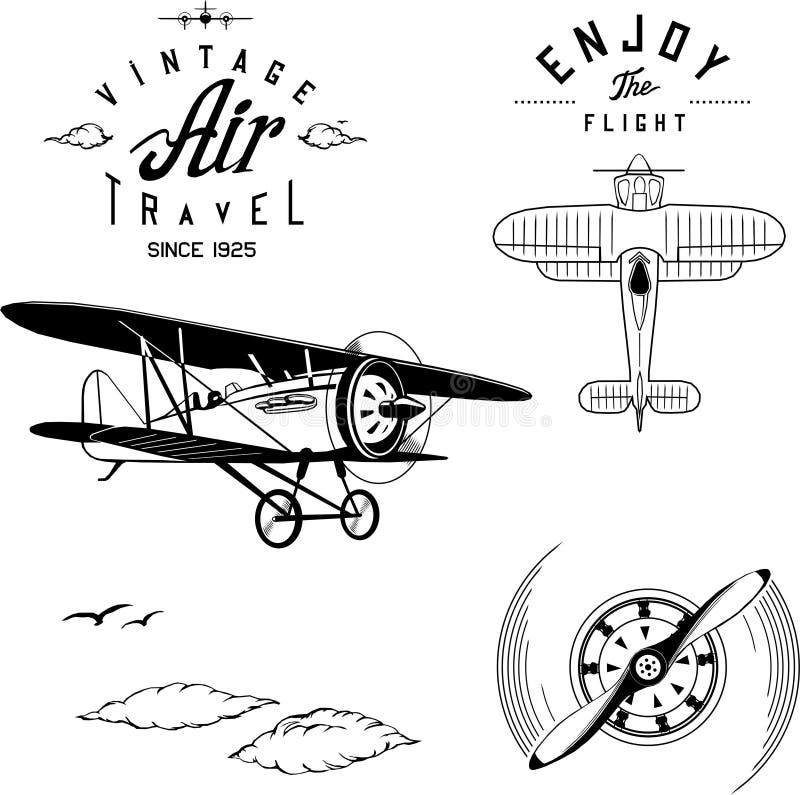 Wijnoogst van de het vliegtuigtweedekker van het vliegtuigenembleem de vastgestelde zwarte royalty-vrije illustratie