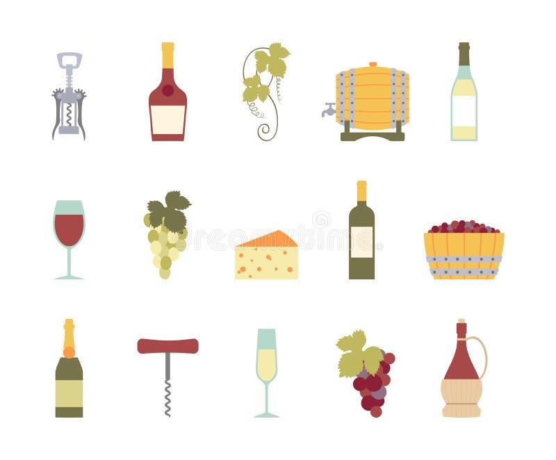 Wijnpictogrammen royalty-vrije illustratie