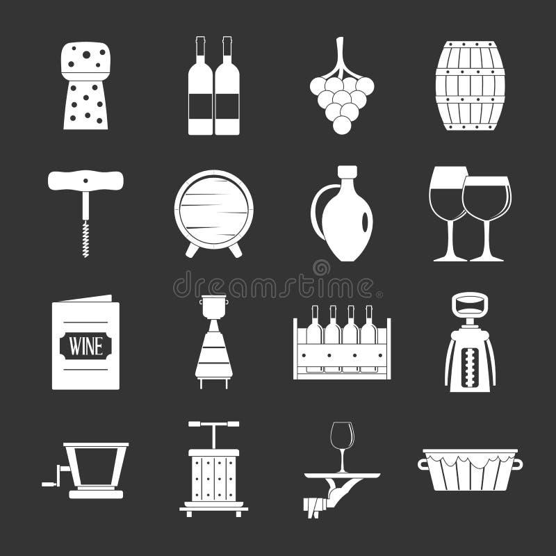 Wijnpictogrammen geplaatst grijze vector stock illustratie