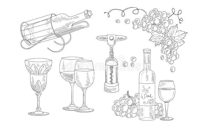 Wijnreeks, Hand Getrokken Wijnvoorwerpen, Fles, Kurketrekker, Glas, Druiven Vectorillustratie vector illustratie