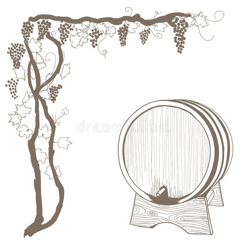 Wijnstok en vatwijnoogst vector illustratie