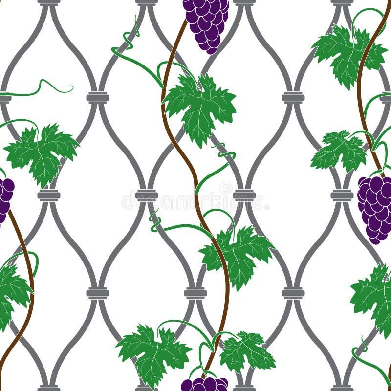 Wijnstok op een omheining royalty-vrije illustratie