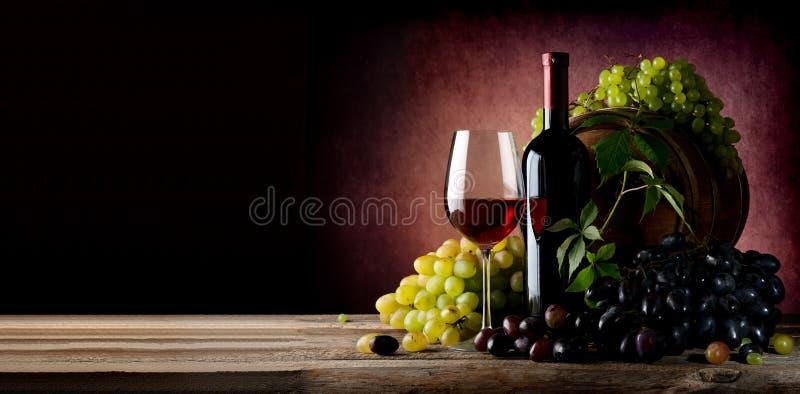 Wijnstok van druif met wijn royalty-vrije stock afbeelding