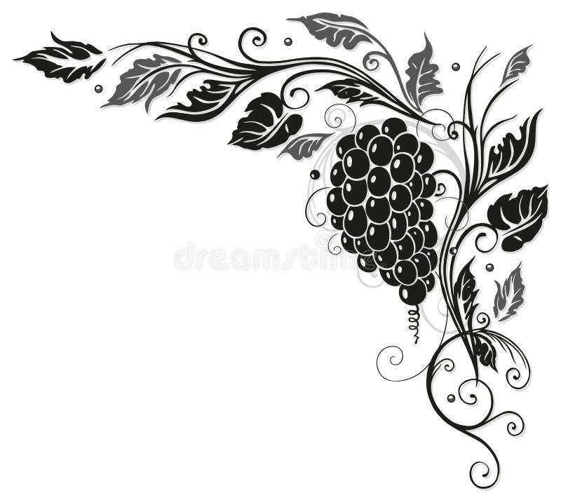 Wijnstokbladeren, druiven royalty-vrije illustratie