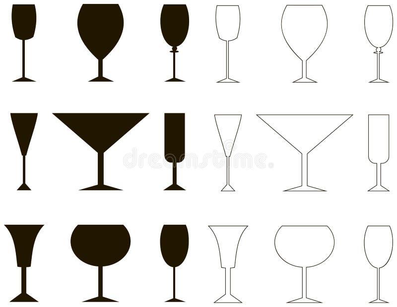 Wijnstokglas, silhouet en overzicht royalty-vrije illustratie