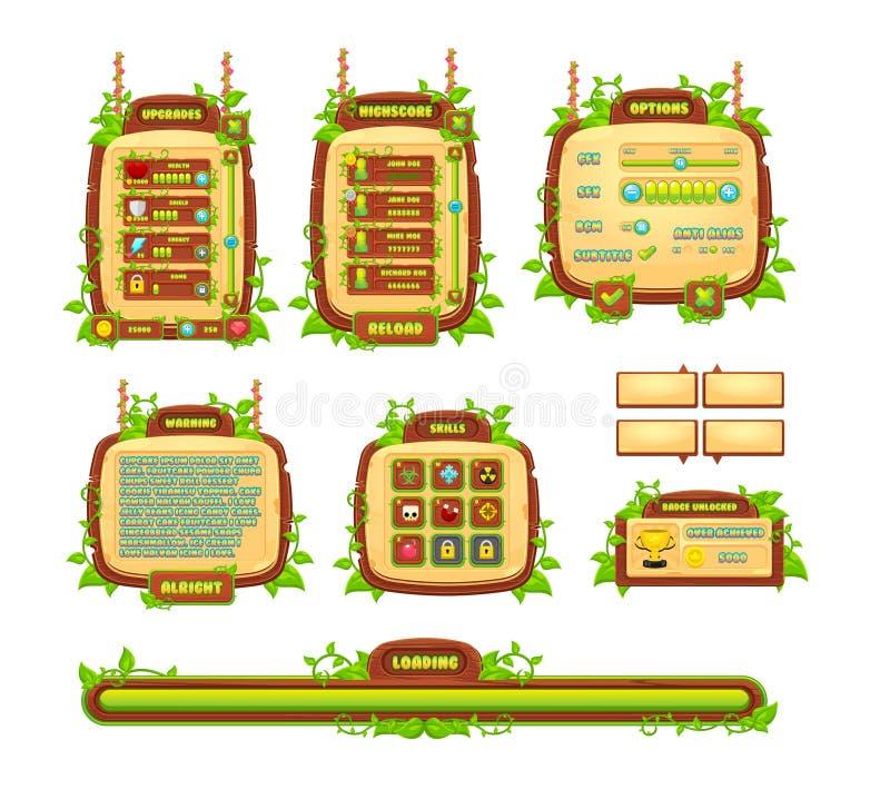 Wijnstokken en Bladerenspel GUI Set stock illustratie