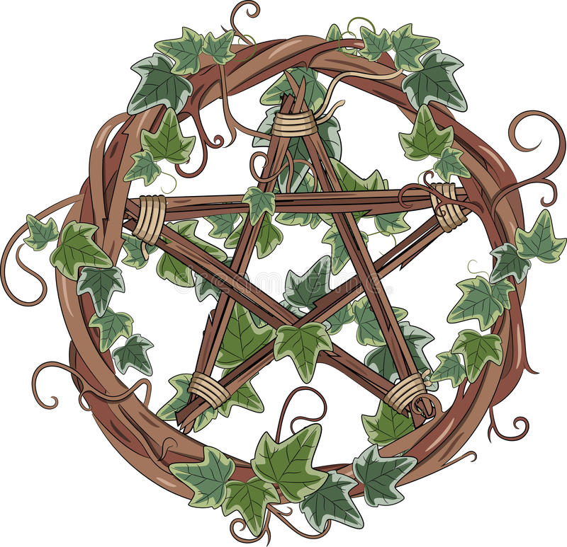 Wijnstokkroon die met klimop wordt ineengestrengeld en pentagram royalty-vrije illustratie
