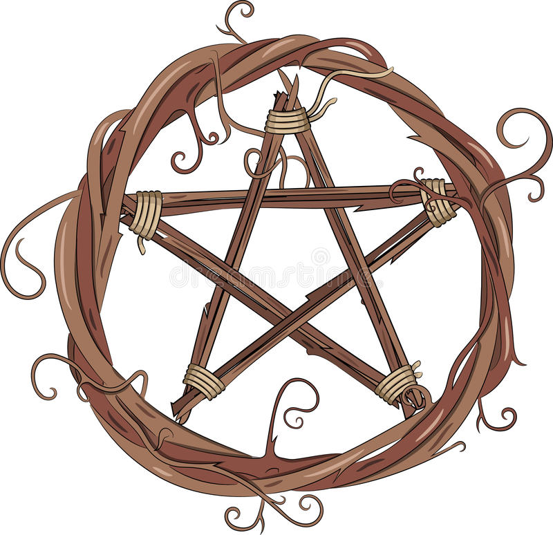 Wijnstokkroon en pentagram stock illustratie