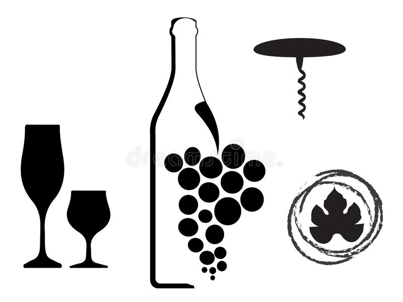 Wijntype ontwerpen royalty-vrije illustratie