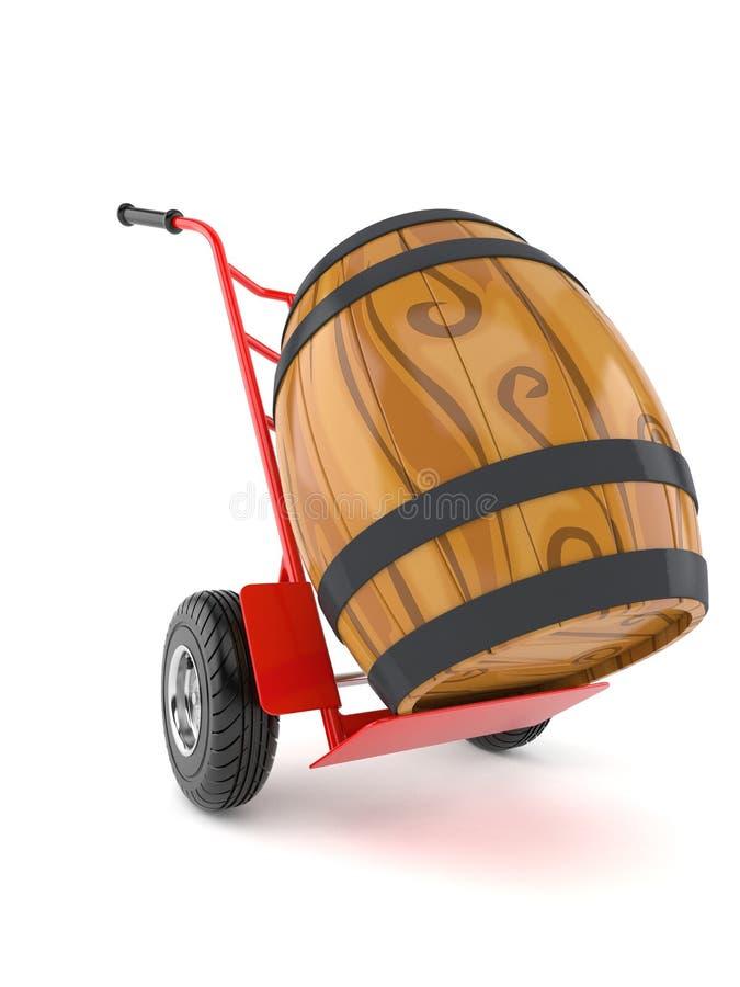 Wijnvat met handvrachtwagen royalty-vrije illustratie