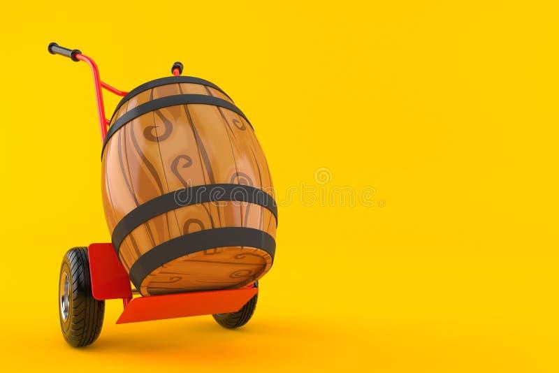 Wijnvat met handvrachtwagen vector illustratie