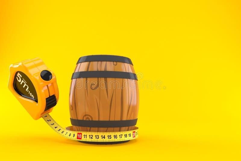 Wijnvat met het meten van band royalty-vrije illustratie
