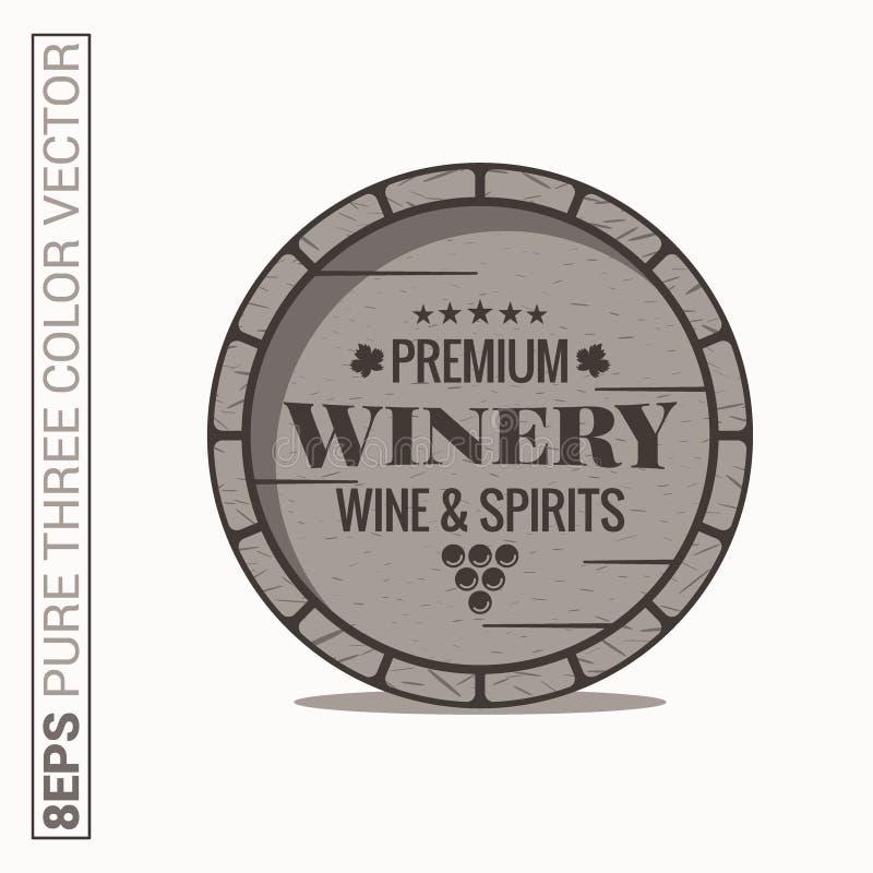 Wijnvatembleem Wijnmakerijwijn en geestenetiket op witte achtergrond stock illustratie