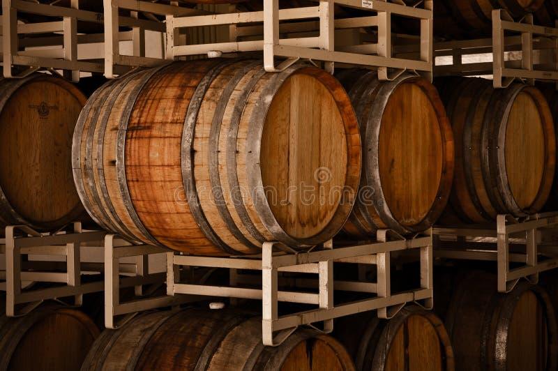 Wijnvatten in Kelder royalty-vrije stock afbeelding