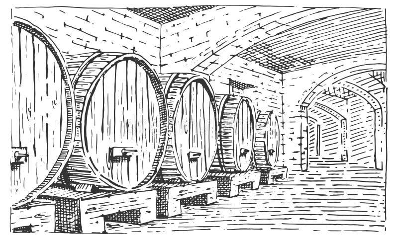 Wijnvatten in kelder het uitstekende oude kijken vector gegraveerde illustratie, hand getrokken scratchboard stijl stock illustratie