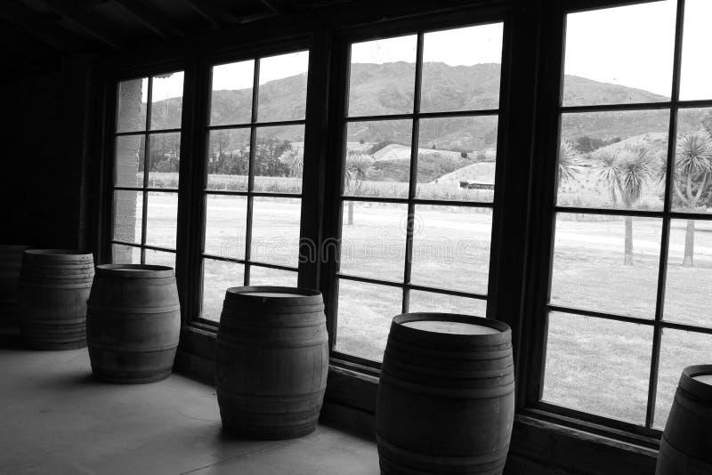 Wijnvatten tegen venster worden opgesteld dat royalty-vrije stock fotografie
