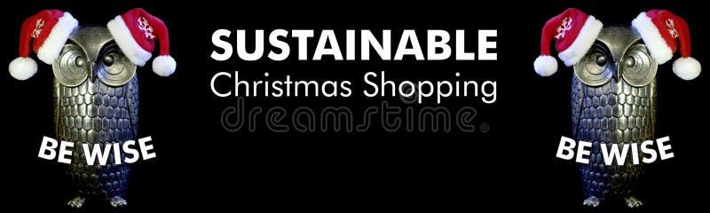 Wijs ben, uilen met santahoeden en tekst duurzame Kerstmis winkelend, zwarte achtergrond royalty-vrije stock afbeeldingen