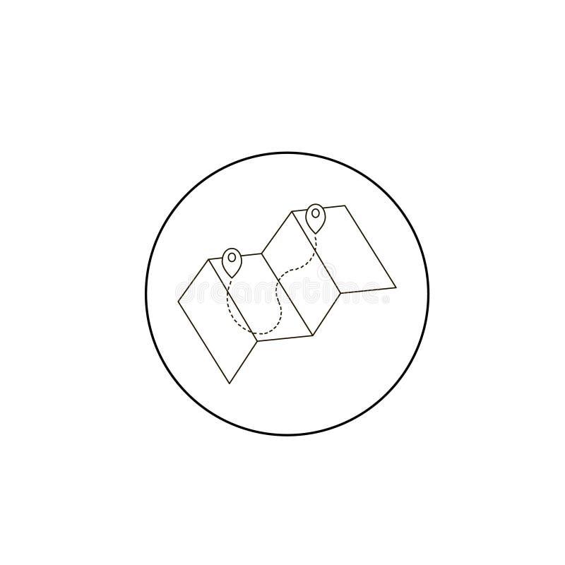 Wijs op kaartpictogram aan in dunne die lijnstijl op grijze achtergrond wordt geïsoleerd Het symbool van de de kaartwijzer van he vector illustratie