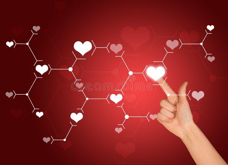 Wijsvingerpersen op wit hartteken aansluting vector illustratie