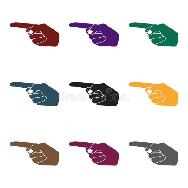 Wijsvingerpictogram in zwarte die stijl op witte achtergrond wordt geïsoleerd Van de het symboolvoorraad van handgebaren de vecto stock illustratie