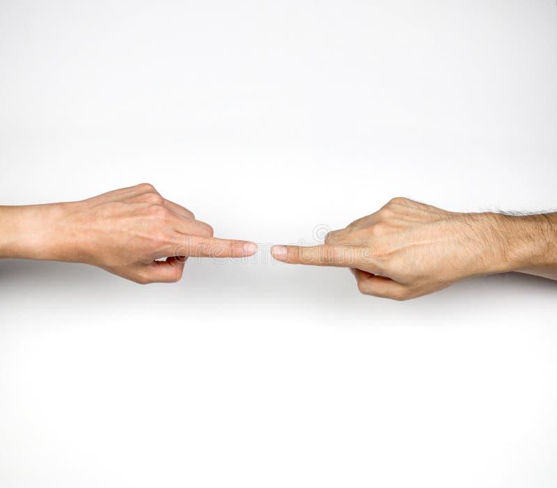 Wijsvingers die elkaar, mededeling en kliek richten stock afbeelding