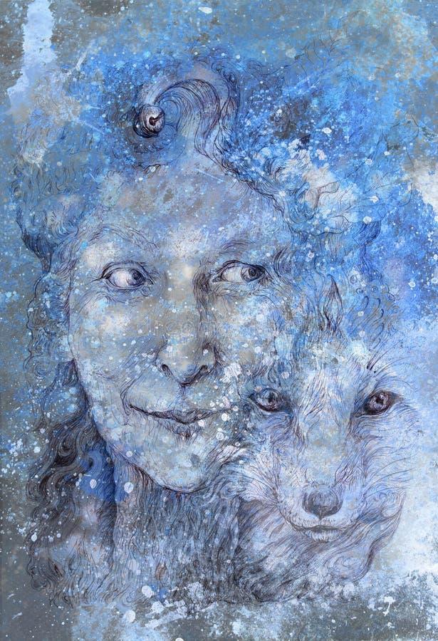Wijze shamanic vrouwen bosgodin, blauwe de winterversie stock foto's