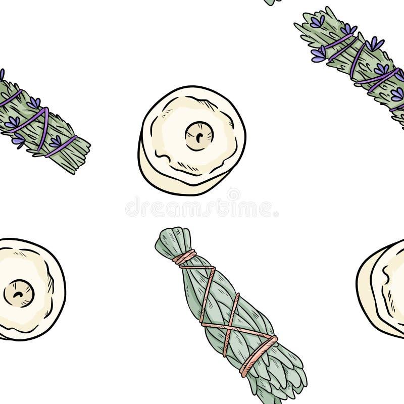 Wijze smudge plakt en schouwt hand-drawn boho naadloos patroon Lavendel, wijze de textuurachtergrond van de kruidbundel royalty-vrije illustratie