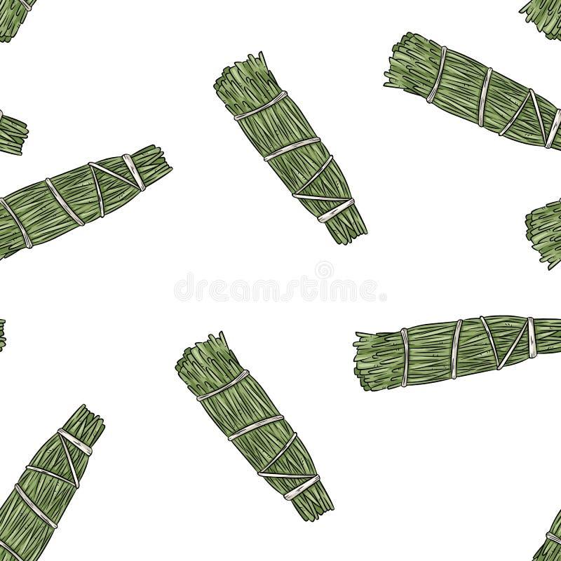 Wijze smudge plakt hand-drawn boho naadloos patroon De achtergrond van de de bundeltextuur van het cederkruid vector illustratie