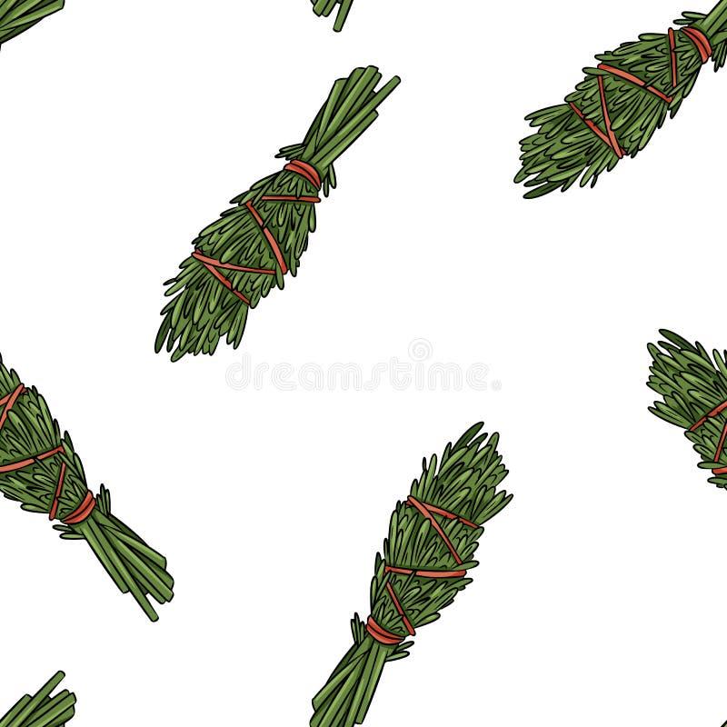 Wijze smudge plakt hand-drawn boho naadloos patroon Rosemary de textuurachtergrond van de kruidbundel vector illustratie
