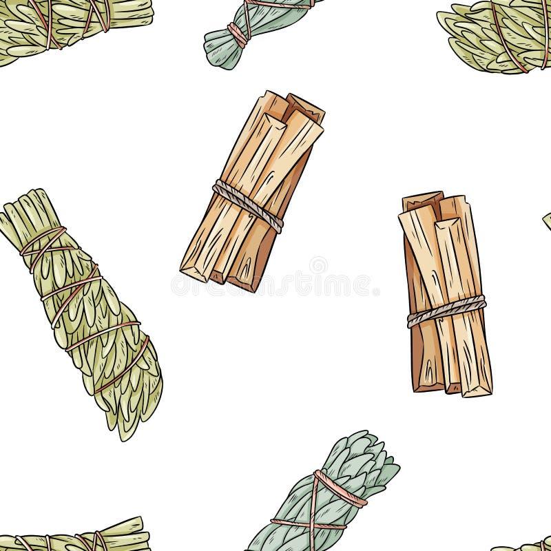 Wijze smudge plakt hand-drawn boho naadloos patroon Salie, bijvoet en palo de textuur van de achtergrond santobundel tegel vector illustratie