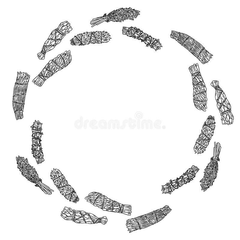 Wijze smudge plakt hand-drawn illustratie van het kroonornament Kruidbundels vector illustratie