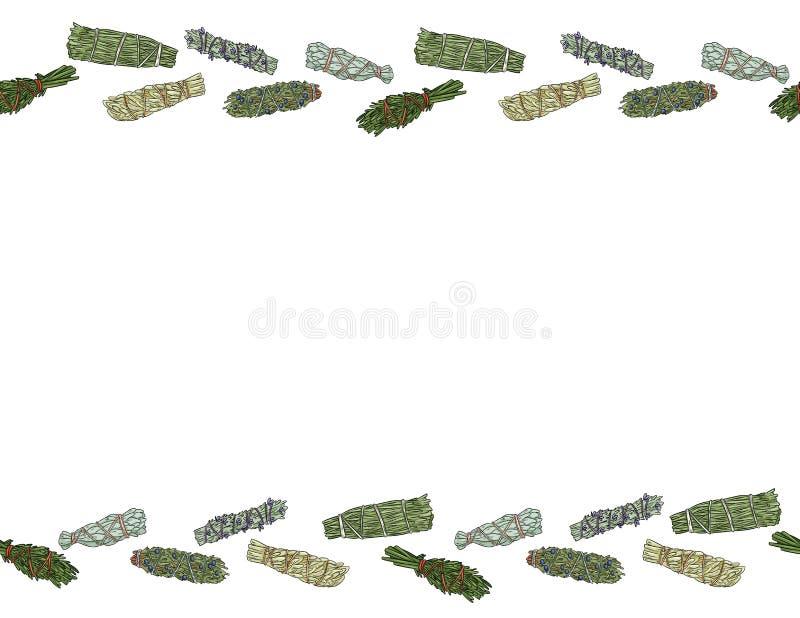 Wijze smudge plakt hand-drawn kleurrijke naadloze ornament van het brievenformaat Het kruid bundelt stationair patroon royalty-vrije illustratie
