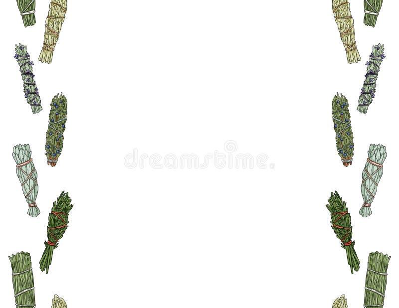 Wijze smudge plakt hand-drawn kleurrijke naadloze patroon van het brievenformaat Het kruid bundelt stationair ornament royalty-vrije illustratie