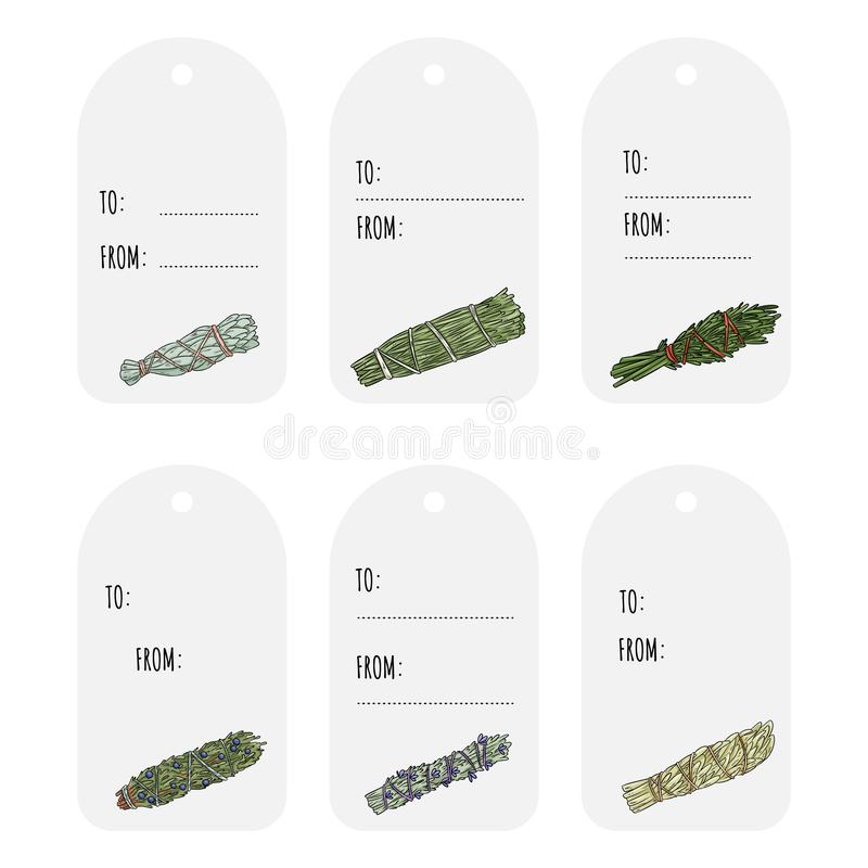 Wijze smudge plakt hand-drawn reeks giftmarkeringen Het kruid bundelt etiketteninzameling stock illustratie