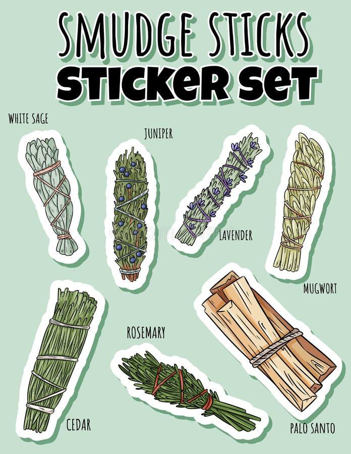 Wijze smudge plakt hand-drawn stickerreeks Het etiketinzameling van kruidbundels vector illustratie