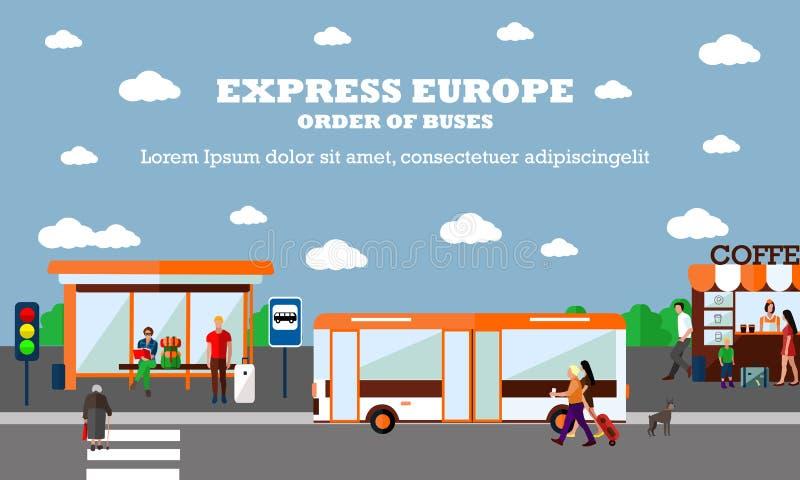 Wijze van de vectorillustratie van het Vervoerconcept Bushaltebanner De voorwerpen van het stadsvervoer stock illustratie
