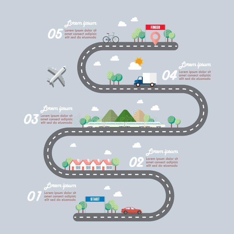 Wijze van vervoer met infographic stadsweg stock illustratie