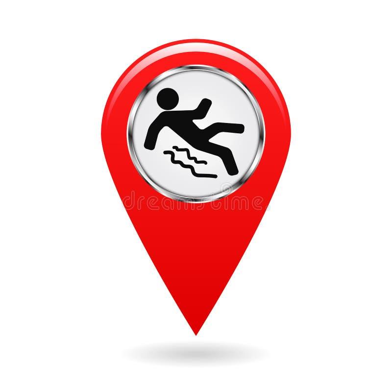 Wijzer op de kaart plaats in het gebied referentiepunt op plan Industrieel ontwerp Ongevallenpreventie Voorzichtig zijn van glad  royalty-vrije illustratie
