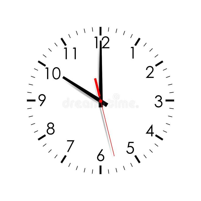 Wijzerplaat die op witte achtergrond wordt geïsoleerdt de klok van 10 o ` stock illustratie