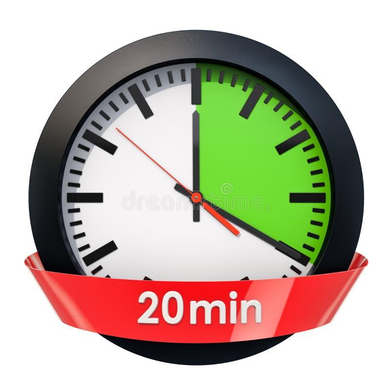 Wijzerplaat met 20 minuten tijdopnemer het 3d teruggeven stock illustratie