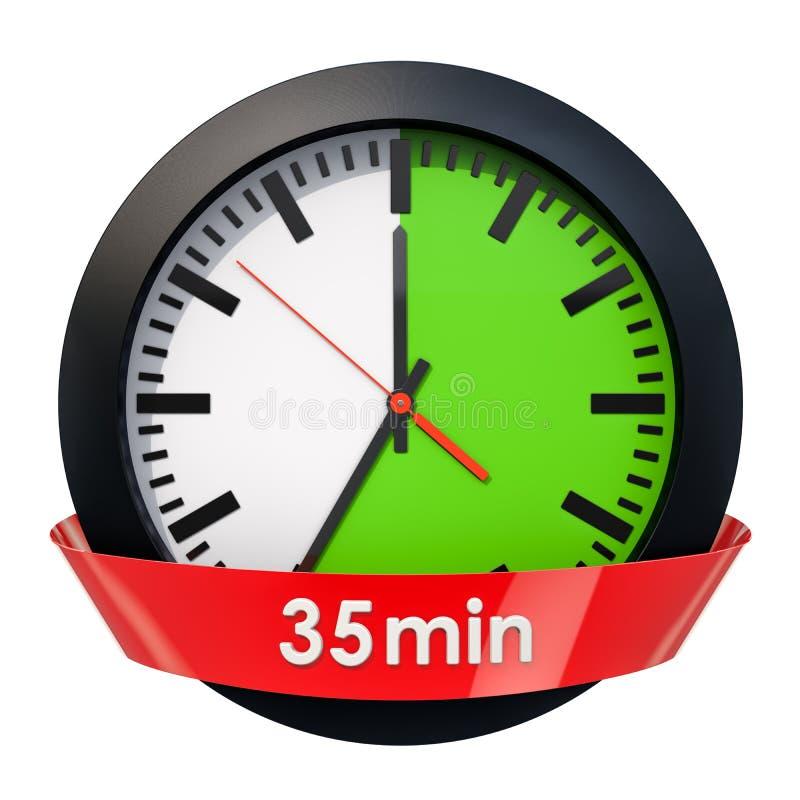Wijzerplaat met 35 minuten tijdopnemer het 3d teruggeven stock illustratie