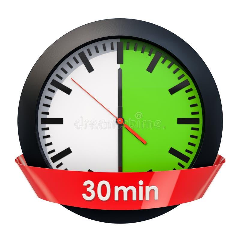Wijzerplaat met 30 minuten tijdopnemer het 3d teruggeven stock illustratie