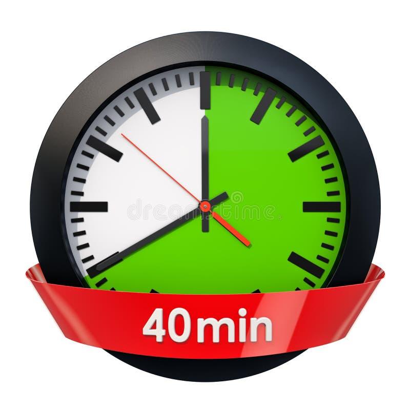 Wijzerplaat met 40 minuten tijdopnemer het 3d teruggeven royalty-vrije illustratie