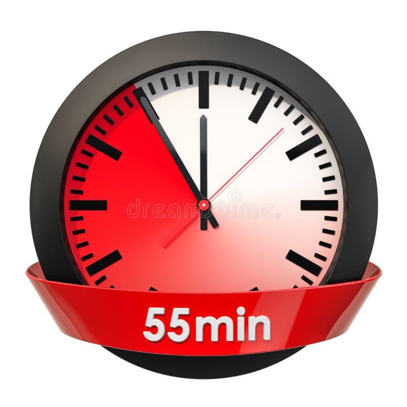 Wijzerplaat met 55 minuten tijdopnemer het 3d teruggeven royalty-vrije illustratie