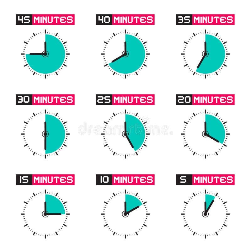 Wijzerplaat met Verschillende Tijd Vectorillustratie stock illustratie