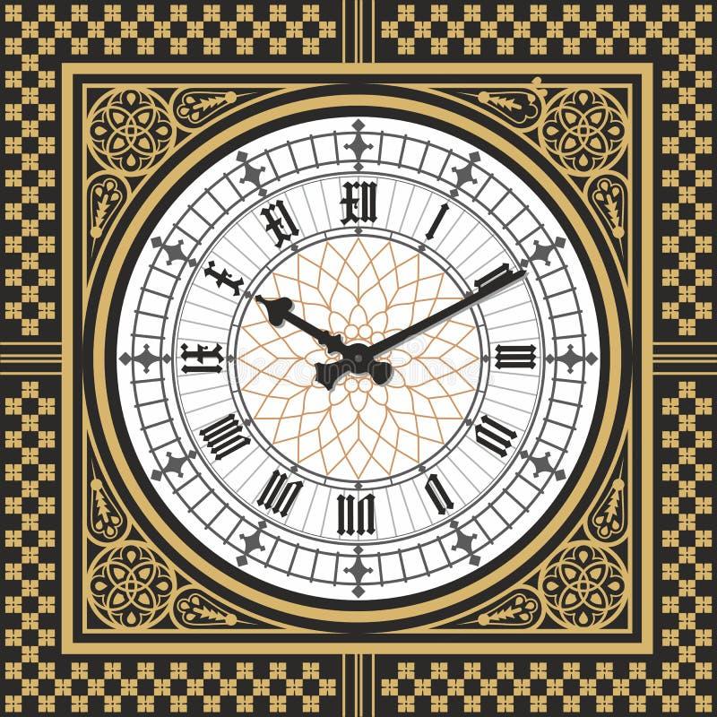 Wijzerplaat Victoriaanse klok in de stijl van Big Ben Vector editable malplaatje vector illustratie
