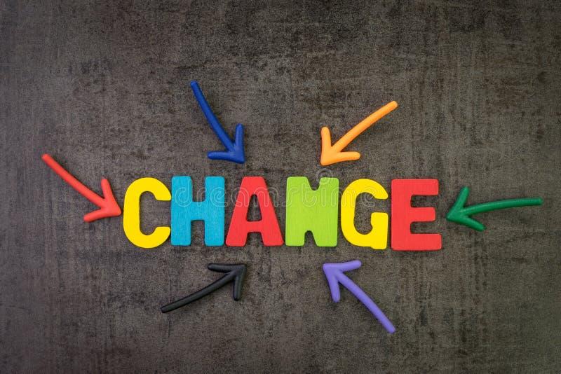 Wijzigingsbeheer, bedrijfstransformatie of beweging v??r verstoringsconcept, de multipijlen die van de kleurenmagneet aan het woo stock afbeelding