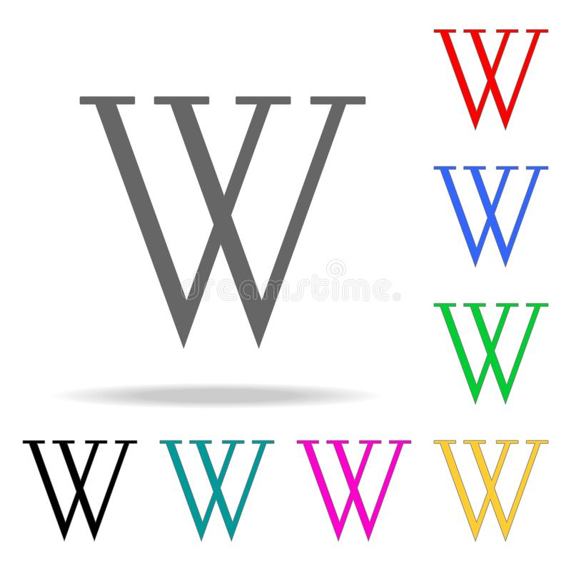 Wiki to search and find information icon. Elements in multi colored icons for mobile concept and web apps. Icons for website desig stock illustration